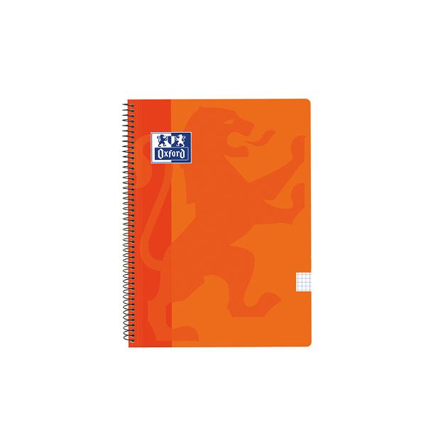 Cuaderno Oxford tapa plást. Fº 80h. 90g. 4x4 Naranja