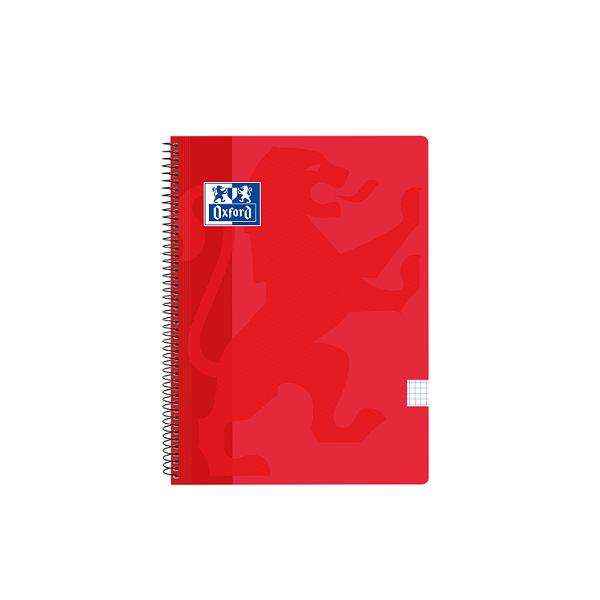 Cuaderno Oxford tapa plást. Fº 80h. 90g. 4x4 Rojo