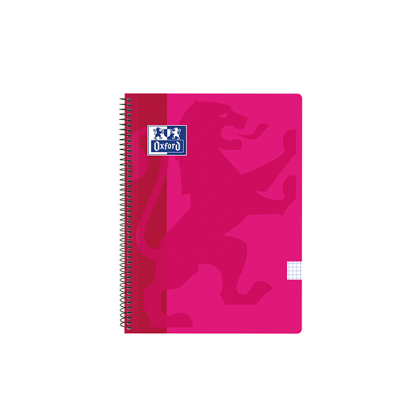Cuaderno Oxford tapa plást. Fº 80h. 90g. 4x4 Fúcsia