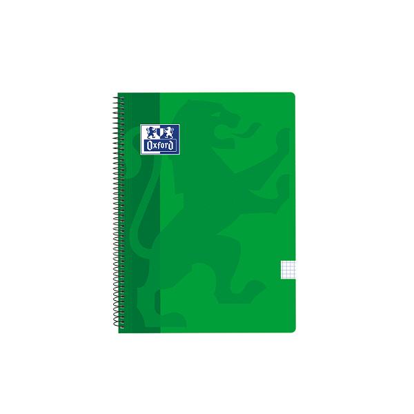 Cuaderno Oxford tapa plást. Fº 80h. 90g. 4x4 Verde
